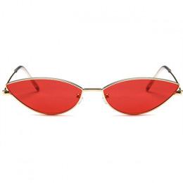 Metalowa rama kobiety Cat Eye okulary przeciwsłoneczne śliczne Sexy marka projektant lato Retro mała ramka czarny czerwony Catey