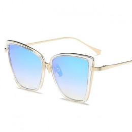 Modne eleganckie okulary przeciwsłoneczne damskie oryginalny koci kształt metaliczne geometryczne szkła kolor czarny w panterkę