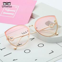 Umanco 2018 kobiety moda duże kwadratowe metalowe Cat okulary przeciwsłoneczne damskie męskie wielokolorowe okulary przeciwsłone