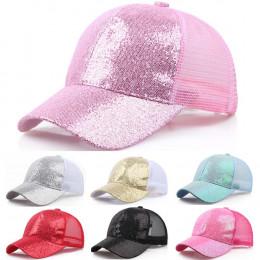 2019 kobiety dziewczyna kucyk kapelusz czapka z daszkiem nowe mody z daszkiem cekiny błyszczące Messy Bun Snapback Sun czapki бе