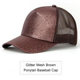 2019 Glitter kucyk czapka z daszkiem kobiety regulowany Messy Bun czapki czarny kapelusz dziewczyny na co dzień bawełna Snapback