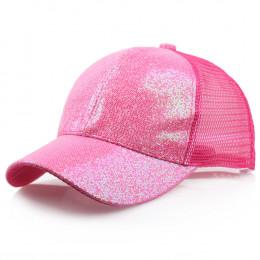 CHAMSGEND 2019 kucyk czapka z daszkiem kobiety dziewczyna Messy Bun Snapback lato czapki z siatki na co dzień Sport cekinowa cza