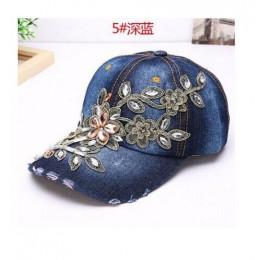Damska czapka z daszkiem obraz w hafcie diamentowym kwiat Denim Snapback czapki dżinsy kobieta kobieta czapka kowbojskie lato sł
