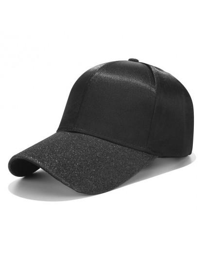 Nowy kucyk czapka z daszkiem czapka z daszkiem kobiety Glitter rondo czapki trucker moda damska jednolity kolor satyna czapki ti