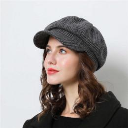 Kobiet czapka z daszkiem dla zima kobiet bawełniane czapki w kratę w stylu Vintage moda ośmiokątne na co dzień boina jesień 2018