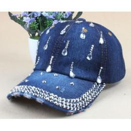 Nowy Denim Hip Hop czapki moda rozrywka kobieta czapka z kropli wody dżetów Vintage Jean bawełna czapki z daszkiem dla mężczyzn