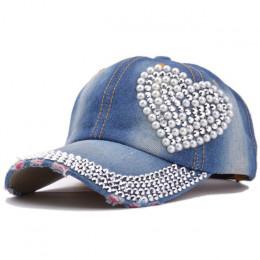 Nowy wysokiej jakości fajny kryształ kwiatowy Denim czapka z daszkiem Bling Rhinestone Hip Hop regulowana bejsbolówka kapelusz G