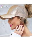 Quaslover Glitter kucyk czapka z daszkiem kobiety Messy Bun Snapback lato siatki czapki regulowany na co dzień Sport cekiny Hip