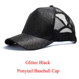 Drop Shipping Glitter kucyk czapka z daszkiem czapka z daszkiem z Logo kobiety Snapback lato czapka z daszkiem kobiet Messy Bun