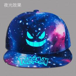 Unisex czapki Pokemon list drukuj czarny i Galaxy drukuj kapelusze ochrona przed słońcem nieformalna czapka dla dziewczynek i ch