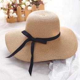 Kapelusz słomkowy na lato kobiety duże szerokie rondo kapelusz plażowy kapelusz przeciwsłoneczny składany blokada przeciwsłonecz