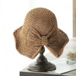 Dla rodziców i dzieci 100% rafia łuk słońce kapelusz szerokim kapelusz z opadającym rondem kapelusze letnie dla kobiet plaża Pan