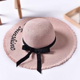 Ręcznie splot list kapelusze przeciwsłoneczne dla kobiet czarna wstążka zasznurować duże rondo słomkowy kapelusz na zewnątrz pla