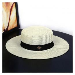 Słomkowy kapelusz damski młodzieżowy dziewczęcy letni przeciwsłoneczny okrągły czarny beżowy