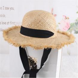 Jyouou koronki pasek słomkowy kapelusz łuk szeroki trawy kobiet kapelusz na lato plaża daszek na świeżym powietrzu wakacje na pl