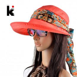 Kapelusze letnie dla kobiet chapeu feminino nowy mody daszki czapka czapka przeciwsłoneczna składany anty-uv kapelusz 6 kolorów