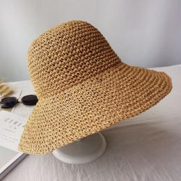 Słomkowy kapelusz damski młodzieżowy dziewczęcy letni przeciwsłoneczny okrągły czarny beżowy granatowy duży