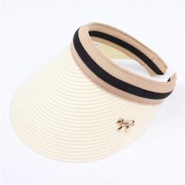 2019 nowy kobiety kapelusze przeciwsłoneczne ręcznie wykonane DIY słomy Bowknot daszki ochronne dla rodziców i dzieci kapelusz n