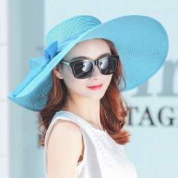 Elegancki styl lato duże rondo słomkowy kapelusz dla dorosłych kobiet dziewczyny moda słońce kapelusz uv chronić duży łuk lato p