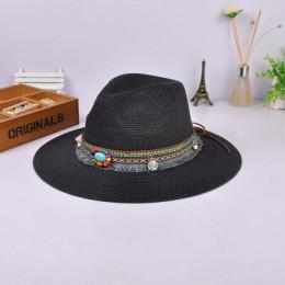 Nowa wiosna lato czechy styl kobiety Jazz czapki czapki z szerokie rondo kobiet słomy w stylu Vintage kapelusz Floppy Sun Beach