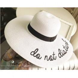 Lato kobiet szerokim rondem nie diaturb słońce kapelusz haft słomiany kapelusz dyskietek składany Roll up czapka plaży słońce ka
