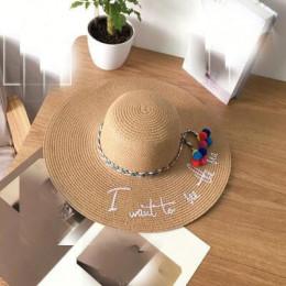 Ymsaid marki 2018 list wyszywana czapka duże rondo panie kapelusz słomkowy na lato młodzieży kapelusze dla kobiet odcień Sunhat