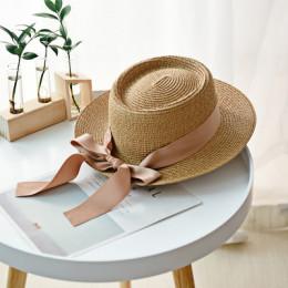 Słomkowy kapelusz damski młodzieżowy dziewczęcy letni z kokardą przeciwsłoneczny okrągły granatowy szary niebieski różowy beżowy