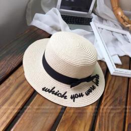 Lady haft słońce czapki boater kapelusz kobiet łuk lato wstążka okrągły łuk płaski Top słomkowy kapelusz z szerokim rondem Fedor