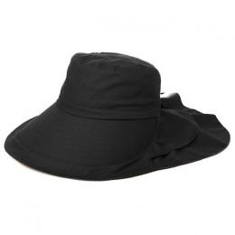 FANCET kobiet lato plaża kapelusze przeciwsłoneczne UPF50 + UV bawełna kucyk składany ciąg Chin Cord szerokie rondo podróży kape