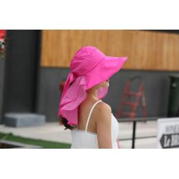Elegancki kapelusz przeciwsłoneczny damski z ozdobną chustą na upalne dni różowy niebieski pudrowy