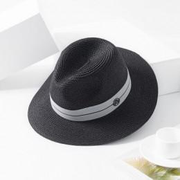 2018 nowy lato Panama kapelusz dla kobiet czarna wstążka słomy kapelusz moda pani kościół czapki plaży słońce kapelusz