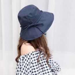 Nowe mody kobiety Floppy bawełna słońce kapelusz z kokardą szeroki duży czapka z rondem lato plaża składany szyi ochrony przed p