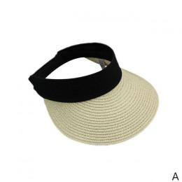 Nowy prosty lato słomy kapelusz słońce kobiet perła Backable czapka z daszkiem z dużymi głowami szeroki rondo ochrona UV czapka
