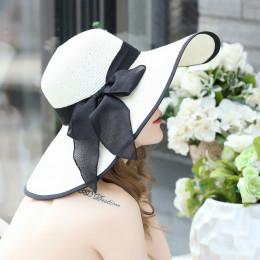 Lato duże rondo słomkowy kapelusz Floppy szerokim rondem czapka przeciwsłoneczna Bowknot Beach składane czapki nowy 2019 kapelus