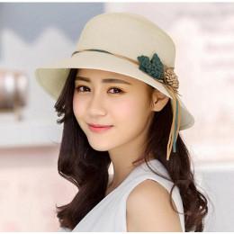 2018 lato nowy stałe dyskietki kapelusze słomkowe dla kobiet kwiat akcesoria damskie lato plaża słońce czapki Panama kapelusz w