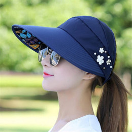 Kapelusze przeciwsłoneczne dla kobiet daszki kapelusz połowów Fisher kapelusz plażowy ochrona UV czapka czarny na co dzień kobie