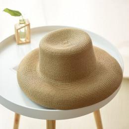 Modny letni słomkowy kapelusz plażowy damski przeciwsłoneczny klasyczny kształt z szerokim rondem w stylu boho