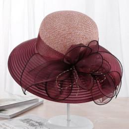 Letnie panie kapelusz wypoczynek na plaży kobiet słońce kapelusz eleganckie szerokie kapelusz jedwab wiaderko na kwiaty kapelusz