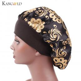 KANCOOLD kapelusz kobieta satyna drukowana z szerokim rondem opaska do włosów snu czapka chemioterapii kapelusz Czepek do włosów