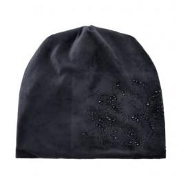 Moda damska Rhinestone kapelusz z kwiatem szalik zimowe ciepłe czapki szaliki zestaw dla dziewczynek grube aksamitne Bonnet Femm