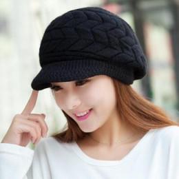 Nowych kobiet czapka zimowa ciepłe czapki polar wewnątrz czapki z dzianiny dla kobiety Rabbit Fur Cap jesień i zima panie modny