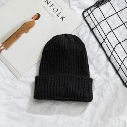 Czapki kobiety 2019 nowy solidna dzianiny ciepłe miękkie modne czapki proste koreański styl kobiet wełny dorywczo czapki eleganc