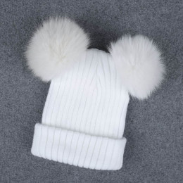 AWAYTR futro nasadka kulkowa 2 Pom Poms czapka zimowa dla kobiet dziewczyny wełny kapelusz z dzianiny bawełniane czapki czapka z