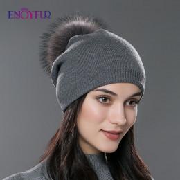 ENJOYFUR zima kobiety prawdziwe futro czapki z pomponem z wełny dzianiny grube ciepłe wyłożona czapka beanie lady moda bobble cz