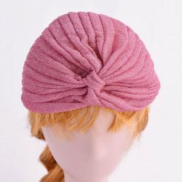 Turban dla kobiet Indie brokatowy złoty srebrny czarny różowy czapka elegancka