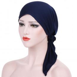 Sleeper 502 2018 kobiety indie kapelusz muzułmaninem wzburzyć chemioterapii raka piersi czapka szalik Turban dwa ogon opaska na