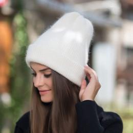 [Rancyword] kobiety czapki zimowe czapki Knitting Rabbit wełna futro kapelusz kobiet prawdziwe futro Skullies czapki Gorros jedn