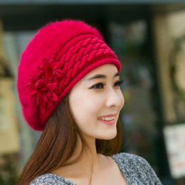 Czapka damska zimowa dla kobiet z dzianiny wełniana czarna różowa czerwona