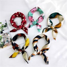 50X50 CM moda kobiety kwadratowy szalik cały mecz okłady elegancki kwiatowy Dot wiosna lato szef szyi włosy krawat zespół szalik