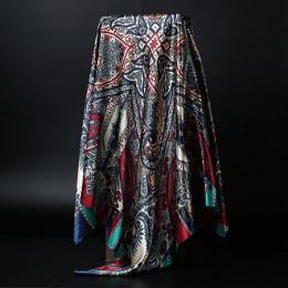 Moda szalik dla kobiet satyna druku jedwabny szal kobiet 90x90cm chusta kwadratowa chustka dla głowy duże szaliki hidżab dla pań